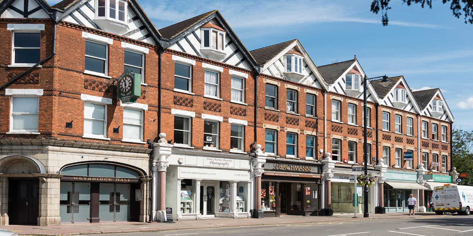 Period shop frontages, Church Street, Weybridge, Surrey, England, United Kingdom